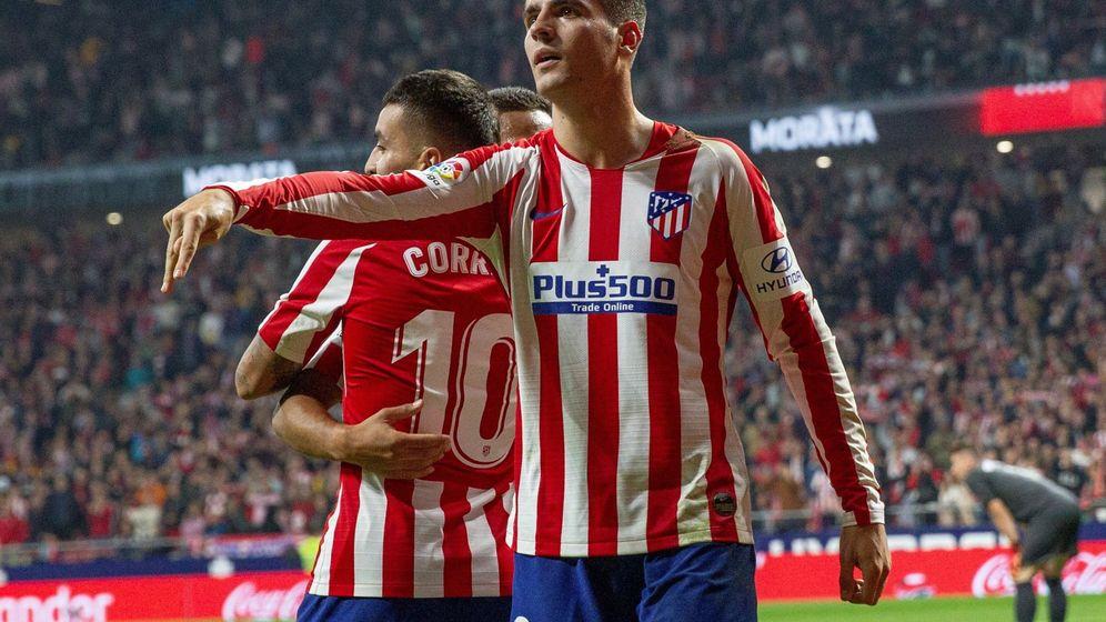 Foto: Morata celebra un gol contra el Athletic Club en el Metropolitano. (EFE)