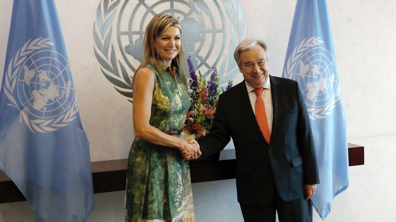 La reina Máxima durante su reunión con António Guterres. (EFE)
