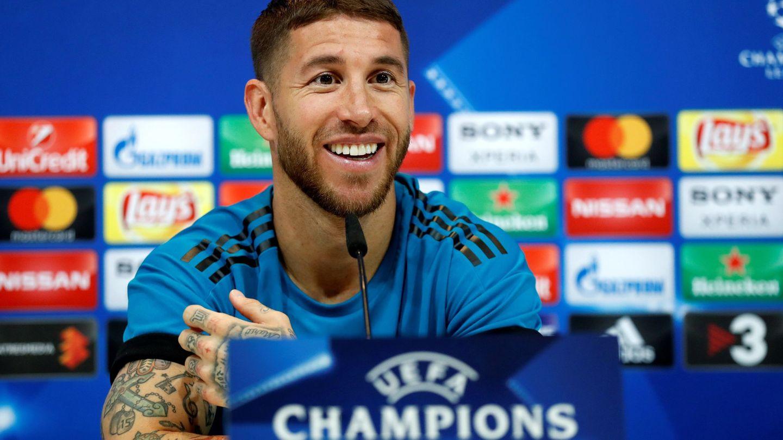Sergio Ramos, capitán del Real Madrid, en la sala de prensa. (Efe)