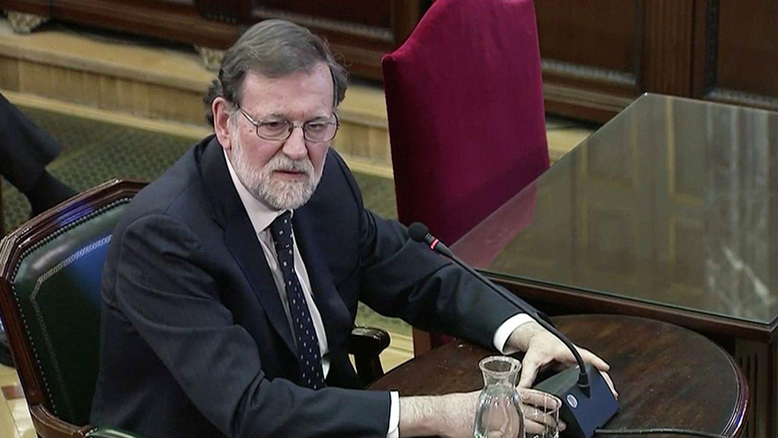 Foto: El expresidente del Gobierno Mariano Rajoy, durante la declaración. (Reuters)
