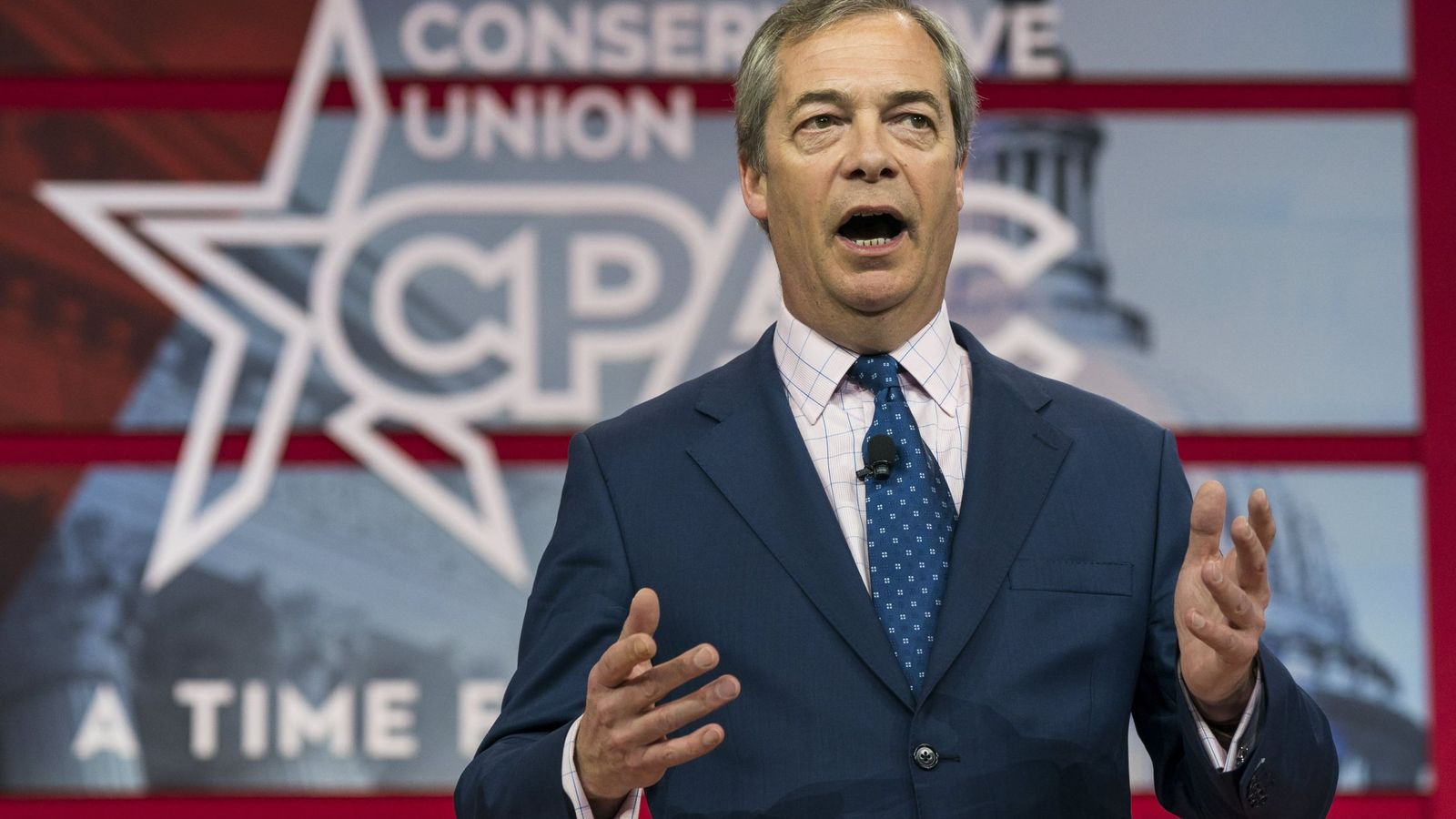 Foto: Nigel Farage durante la 'American Convervative Union' el pasado 23 de febrero. (EFE)