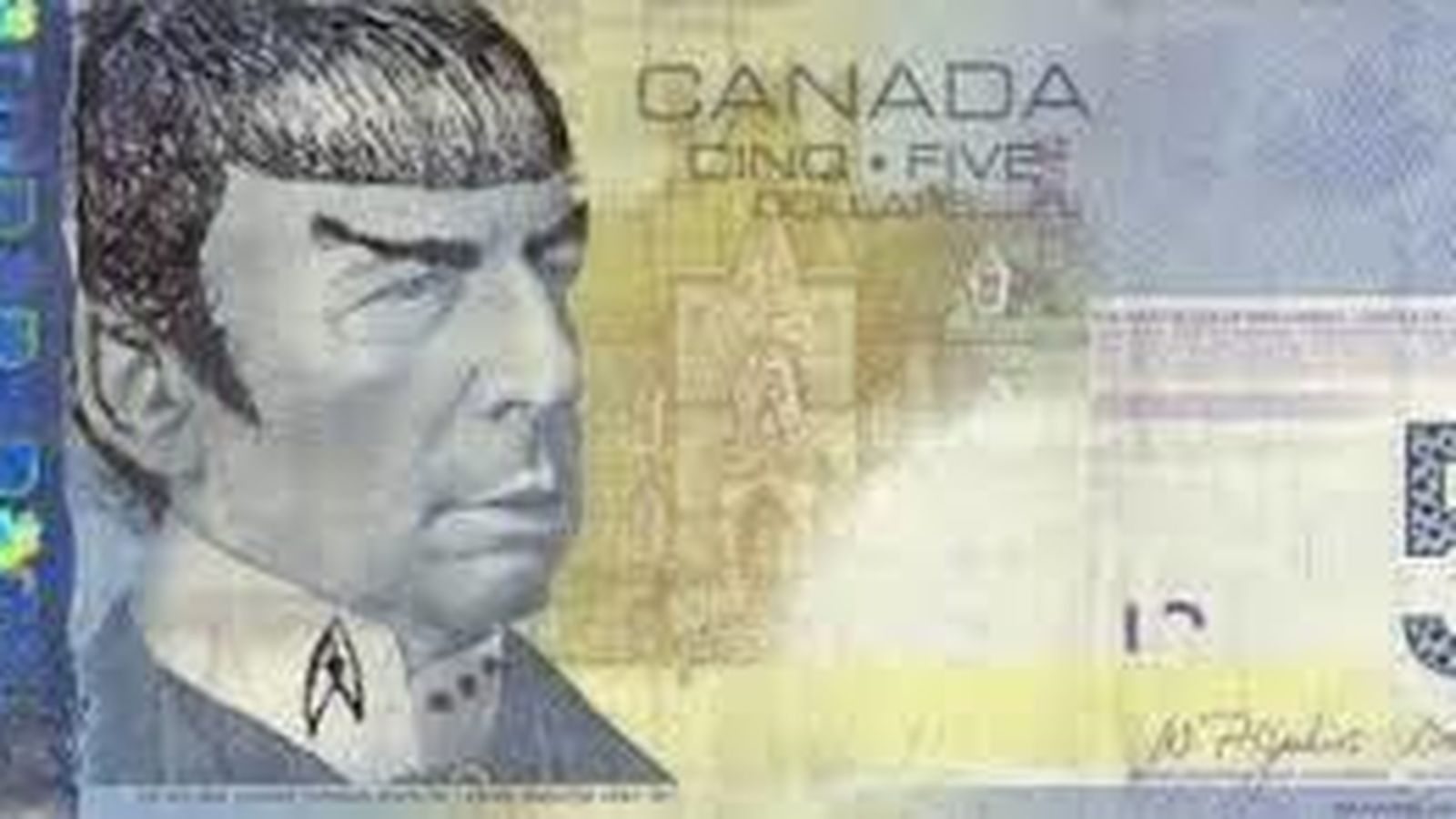 Foto: Imagen de un billete de cinco dólares pintado con la cara de Mr. Spock