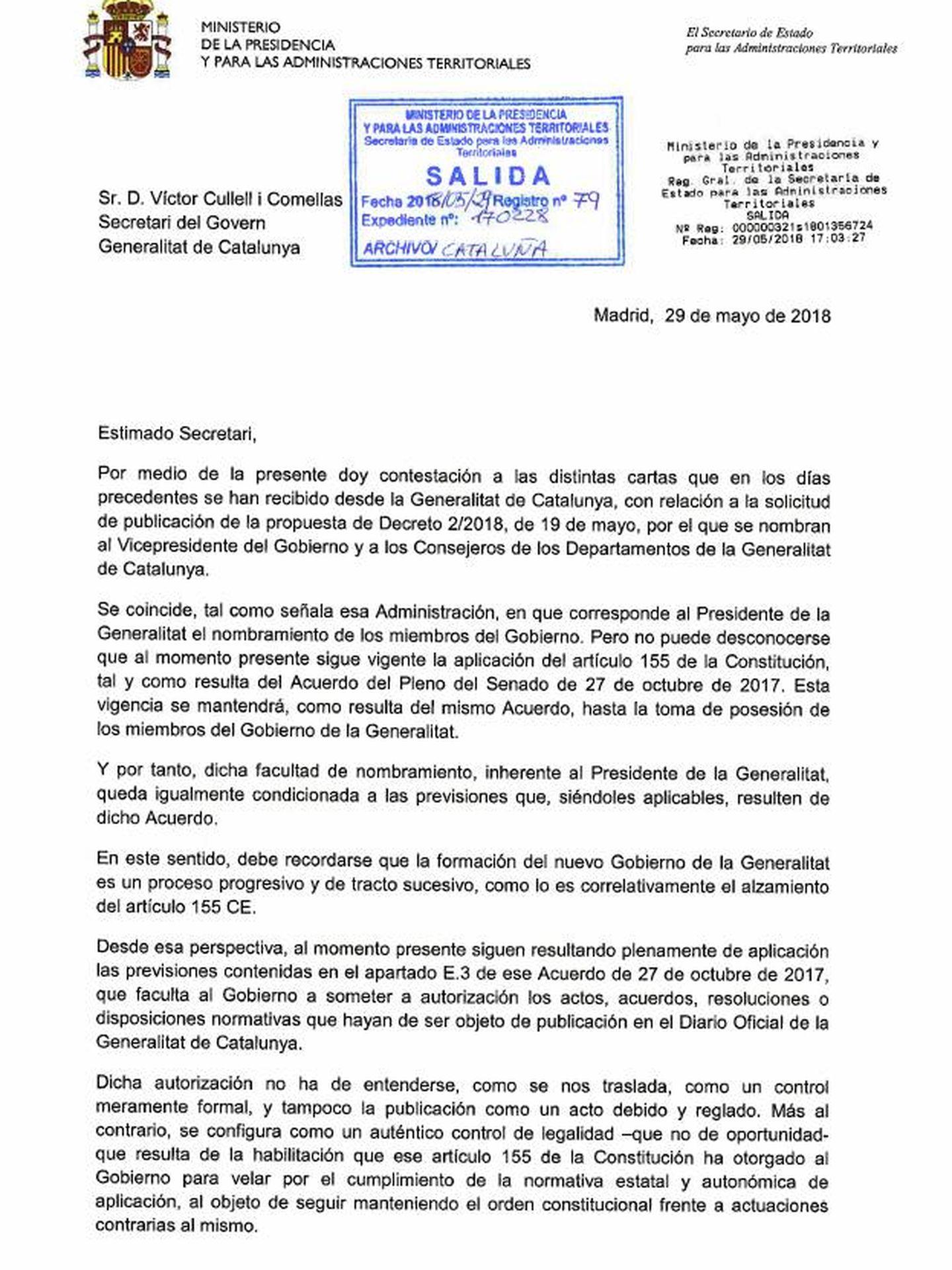 Pinche para leer la carta de Rajoy.