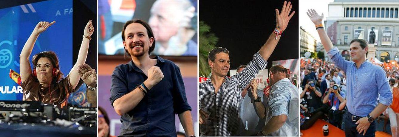 Foto:  Soraya Sáenz de Santamaría, Pablo Iglesias, Pedro Sánchez y Albert Rivera durante el cierre de campaña, este 24 de junio.