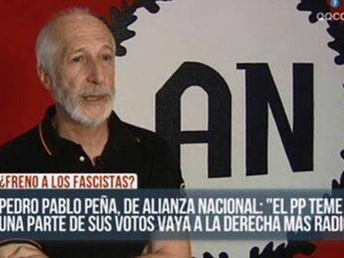 Foto: Pedro Pablo Peña, líder del partido neonazi Alianza Nacional, en una entrevista en TV.