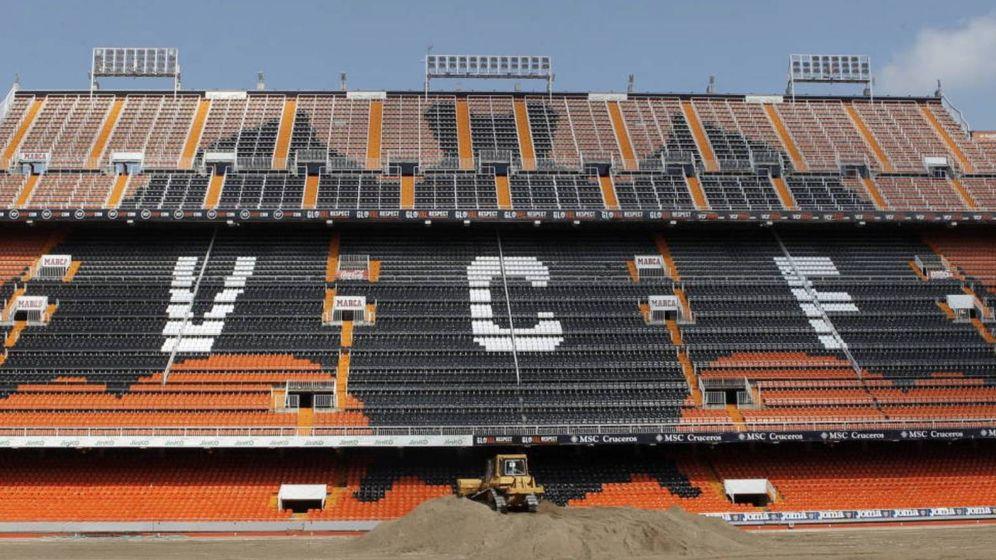 Foto: La grada del viejo Mestalla, campo del Valencia CF.