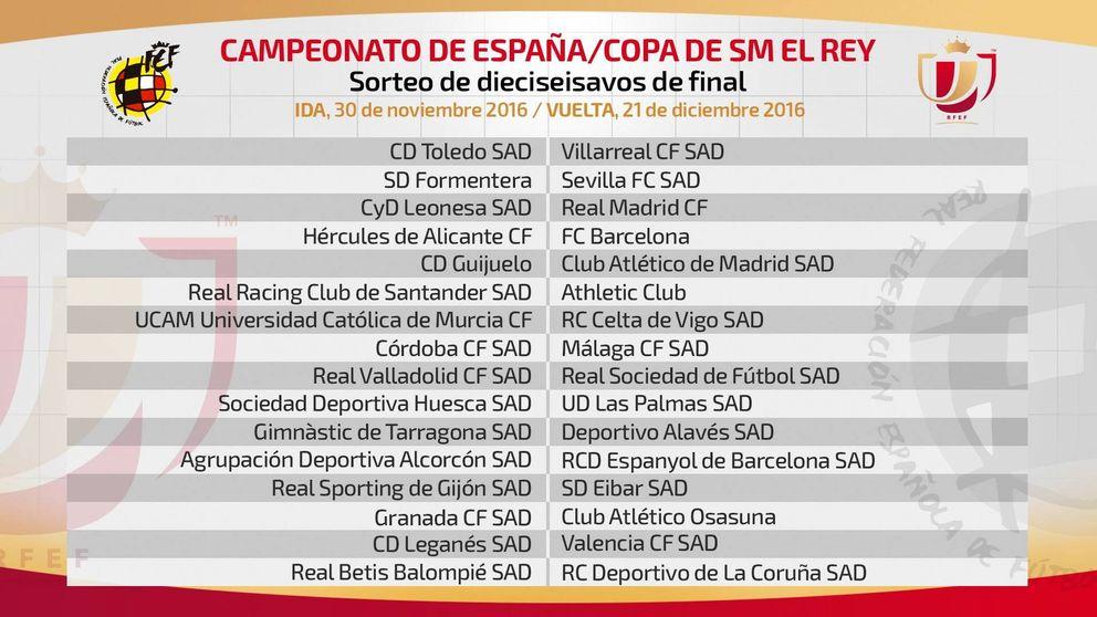 Cultural-Real Madrid y Hércules-Barça en los dieciseisavos de la Copa del Rey