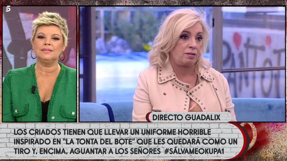 Foto: Carmen Borrego y Terelu Campos, en 'Sálvame Okupa'. (Telecinco)