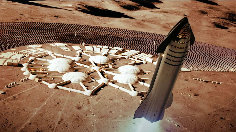 Un Starship, aterrizando en una colonia marciana. (Venture City - YouTube)