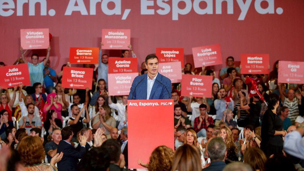 Foto: Pedro Sánchez, este 9 de octubre durante su mitin en Barcelona. (EFE)