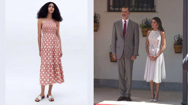 Vestido de Zara / La reina Letizia en Jaén. (Cortesía / Cordon Press)