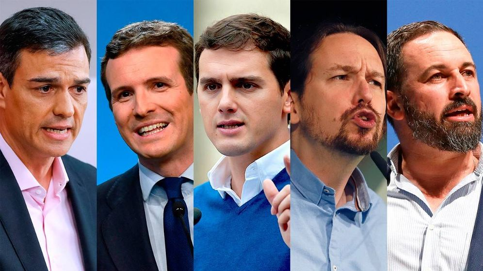 Foto: De izda. a dcha.: Pedro Sánchez, Pablo Casado, Albert Rivera, Pablo Iglesias y Santiago Abascal.