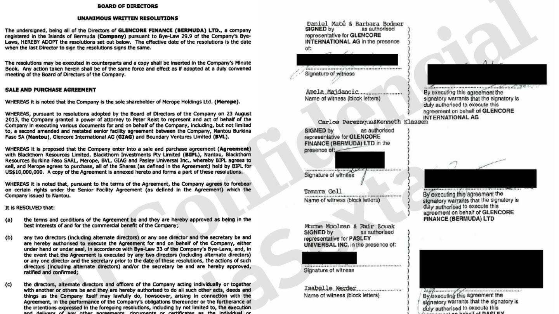 Firma de Maté en representación de Glencore Internacional AG en un documento vinculado a Nantou.