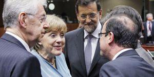 Merkel mantiene su rechazo a los eurobonos pese a la presión de Hollande y Monti