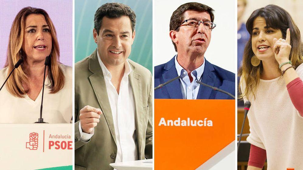 Foto: Los candidatos a la presidencia de la Junta de Andalucía (i-d): Susana Díaz (PSOE), Juanma Moreno (PP), Juan Marín (Ciudadanos) y Teresa Rodríguez (Adelante Andalucía). (EC)