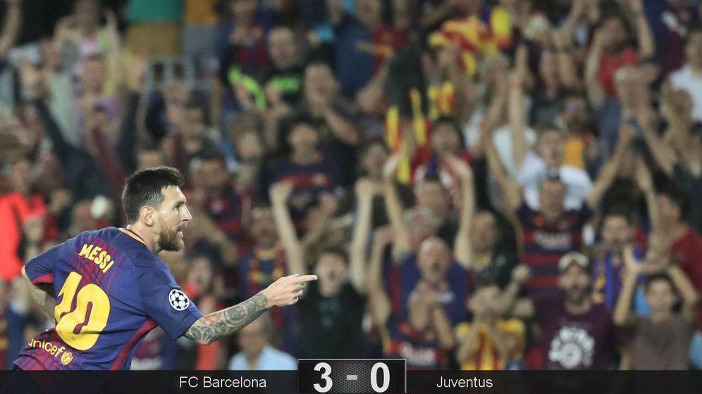 Foto: Messi celebra uno de los dos goles marcados a la Juventus. (Reuters)