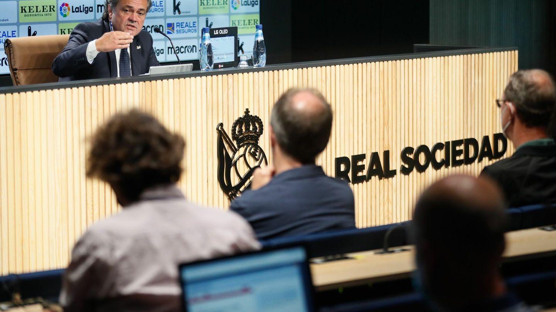 El presidente de la Real Sociedad, Jokin Aperribay, en la rueda de prensa de este viernes. (EFE)