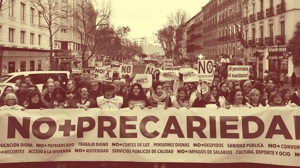 Foto: Manifestación contra la precariedad en el centro de Madrid. (EFE)
