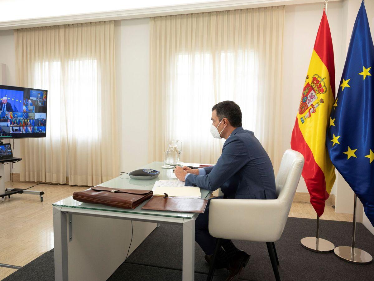 Foto: El presidente del Gobierno durante la conferencia de líderes europeos. (EFE)
