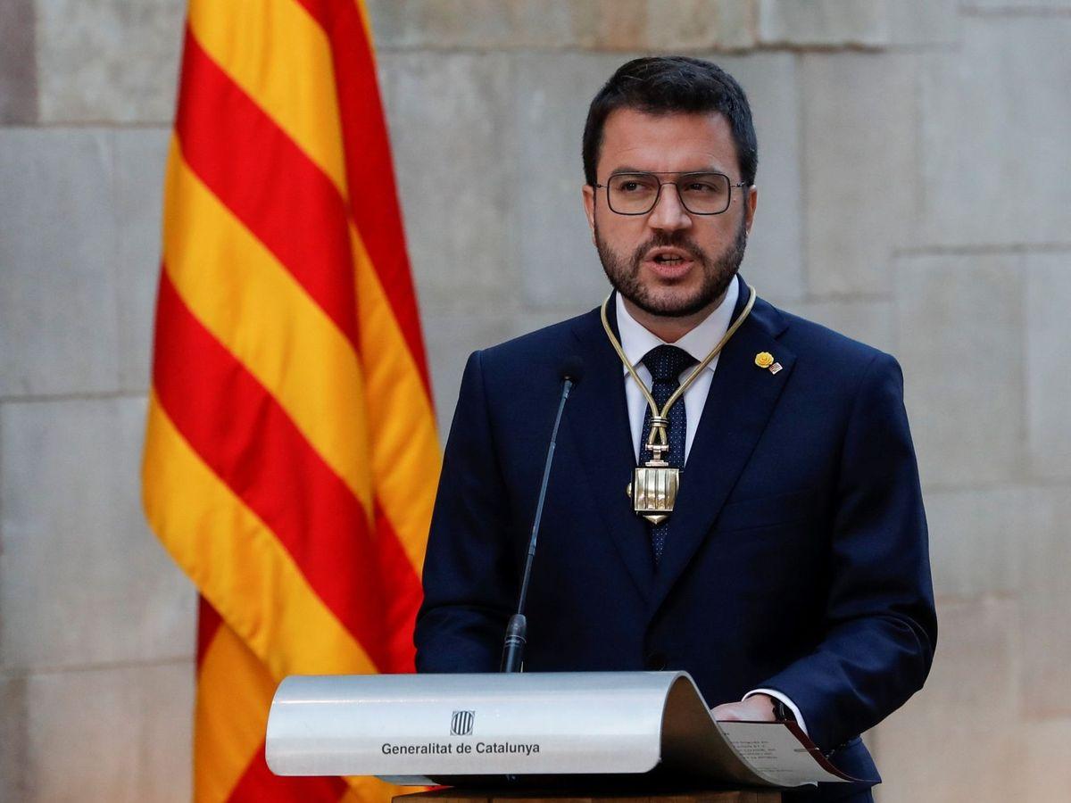 Foto: Pere Aragonès (c), investido presidente de la Generalitat. (EFE)