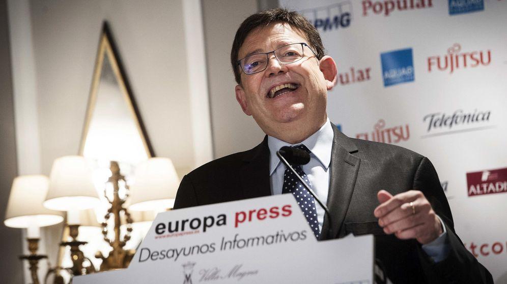 Foto: Ximo Puig, este 5 de octubre, durante el desayuno informativo organizado por Europa Press en el hotel Villa Magna de Madrid. (EFE)