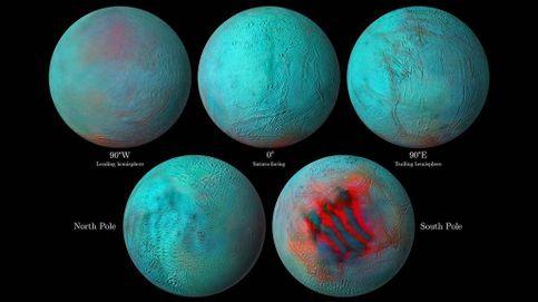 Encelado, la luna de Saturno, tiene un océano bajo su superficie polar