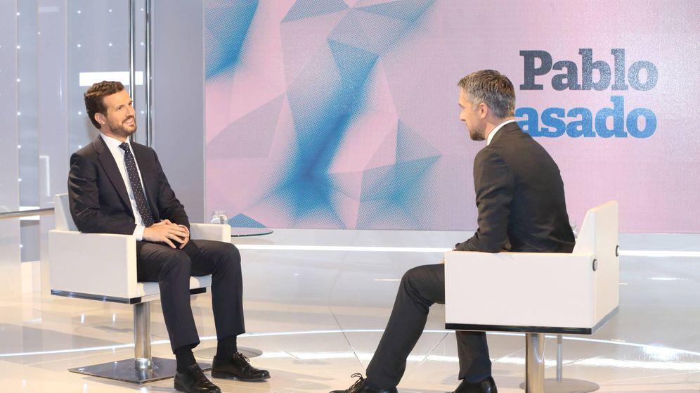 Foto: El líder del PP, Pablo Casado, durante la entrevista en TVE. (RTVE)