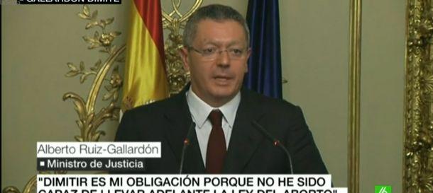Foto: Gallardón durante su rueda de prensa de despedida (laSexta)