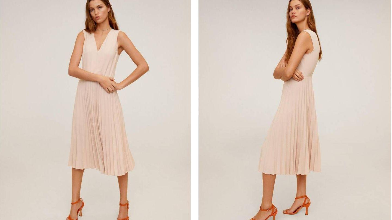 El vestido midi con falda tableada de Irene Montero. (Mango)