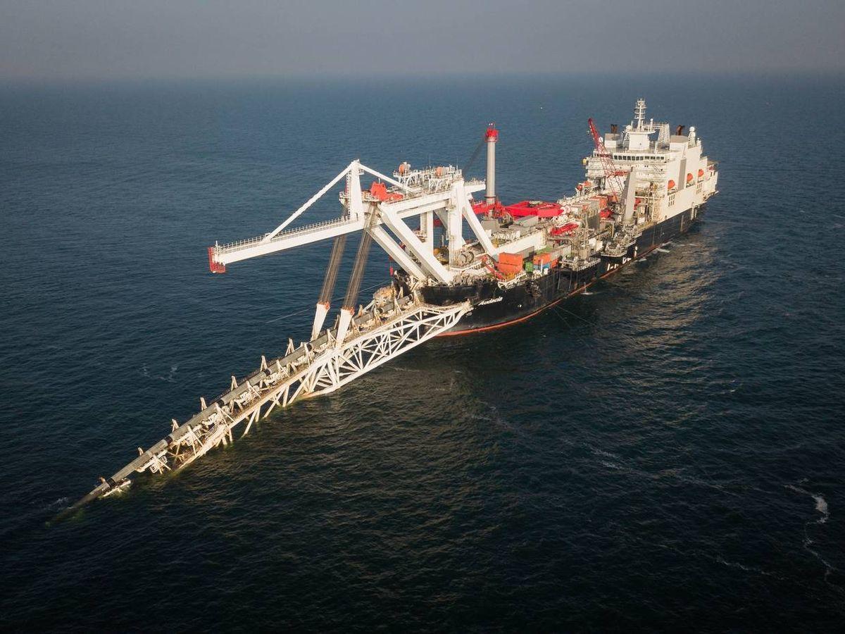Foto: Un barco que participa en la construcción del gaseoducto Nord Stream 2.