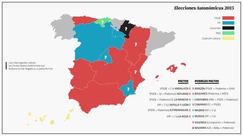 España gira al rojo: el mapa de pactos pinta la debacle territorial del PP tras el 24M