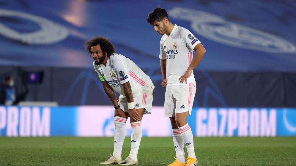 Foto: Marcelo y Marco Asensio en la derrota contra el Shakthar Donetsk en la Champions. (Efe)