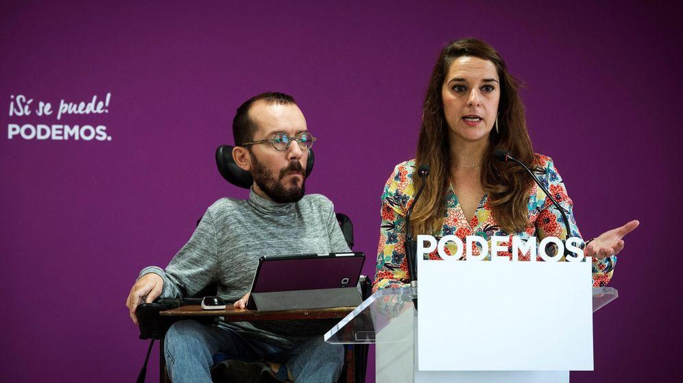 Foto: El Secretario de Organización de Podemos, Pablo Echenique, y la coportavoz del Consejo de Coordinación de Podemos, Noelia Vera, durante la rueda de prensa tras el Consejo de Coordinación. (EFE)