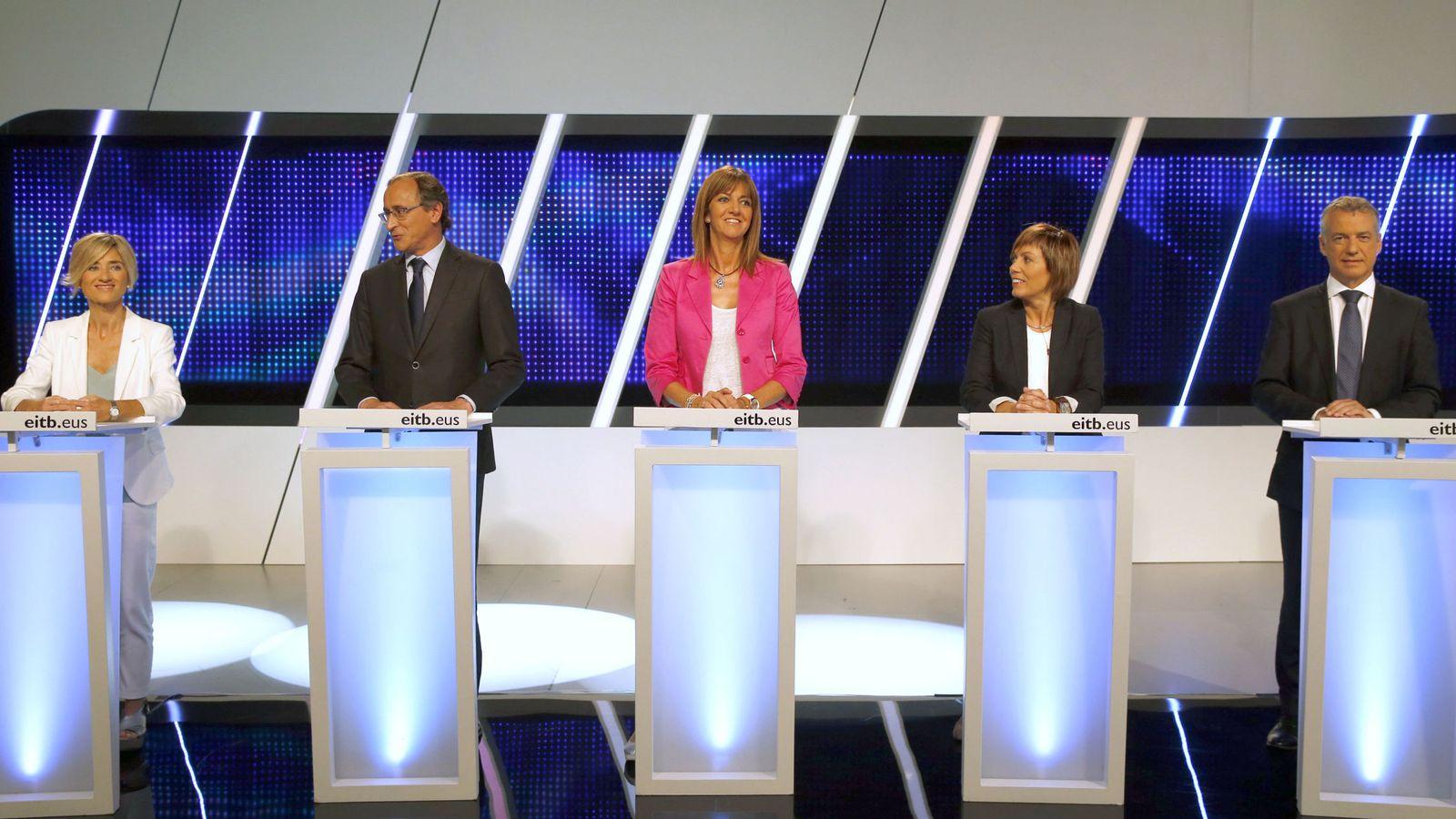 Foto: Los candidatos a lendakari del PNV, Iñigo Urkullu; Podemos, Pili Zabala ; PSE, Idoia Mendia, y PP, Alfonso Alonso, y la cabeza de lista de Bildu por Álava, Miren Larrion. (EFE)