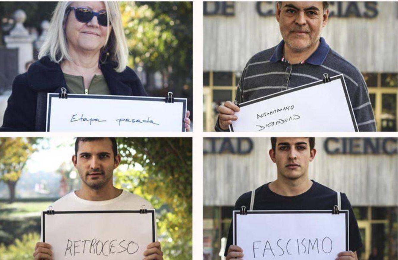"""Foto: """"Etapa pasada"""" es lo que le sugiere a esta mujer; """"autoritarismo"""" es la palabra de Carlos; Eduardo, estudiante de Económicas, y Pablo, de Comunicación Audiovisual, optan por """"retroceso"""" y """"fascismo"""""""