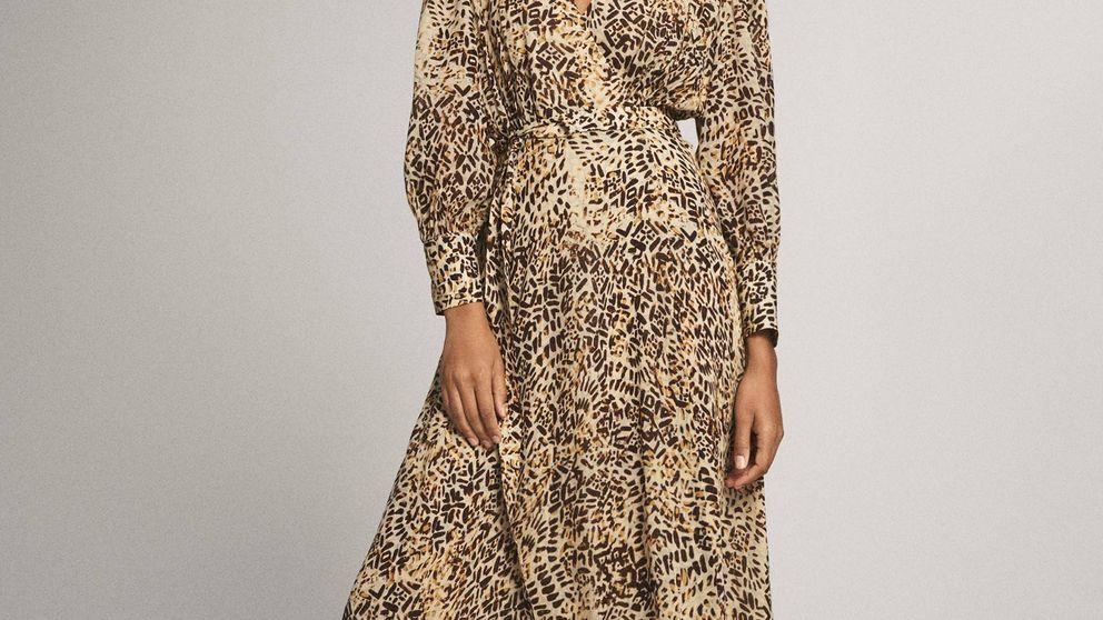 Massimo Dutti tiene el vestido safari de falso animal print que estiliza el cuerpo y disimula barriguita
