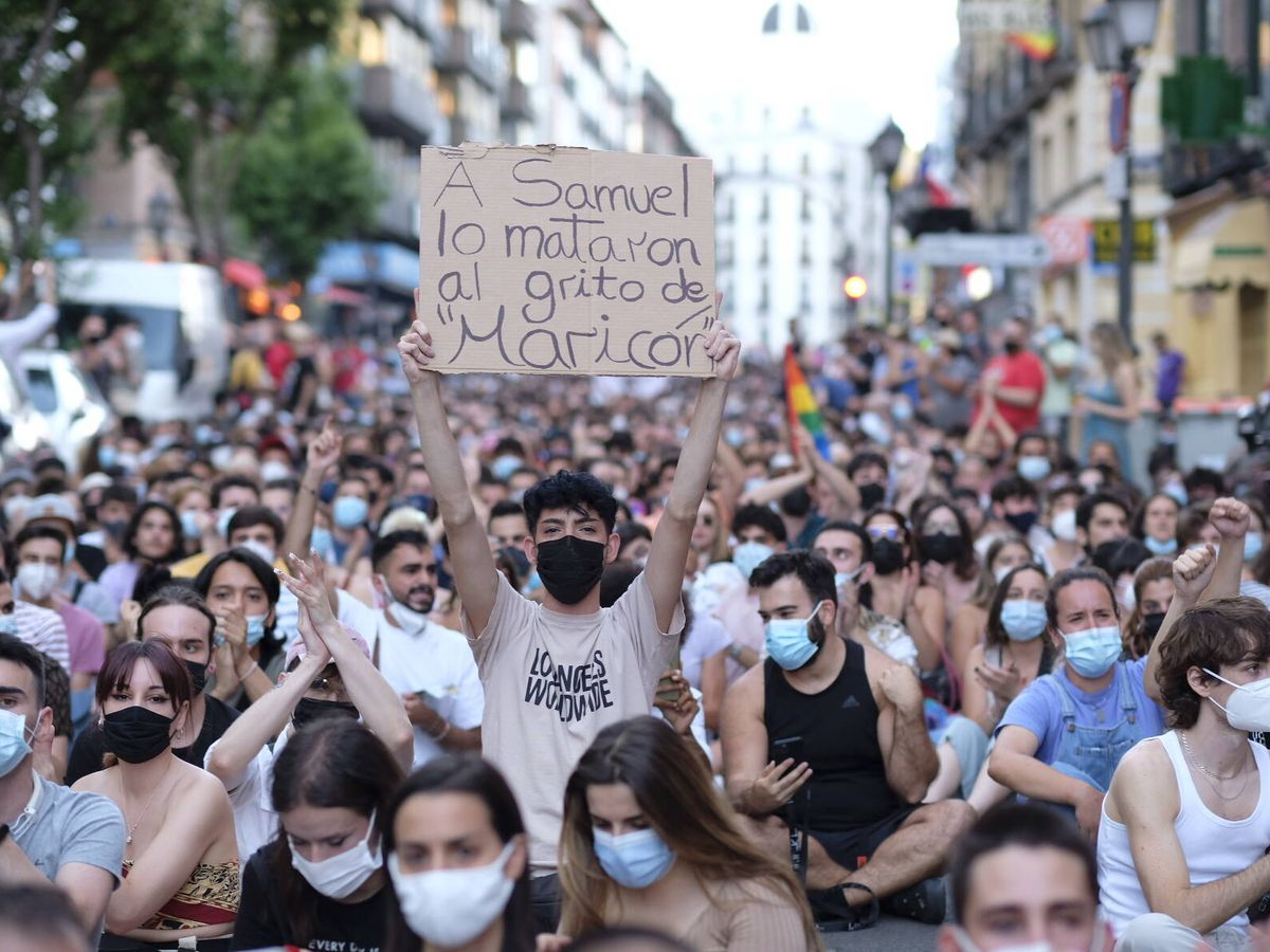 Foto: Manifestación en Madrid tras el asesinato de Samuel. (Sergio Beleña)