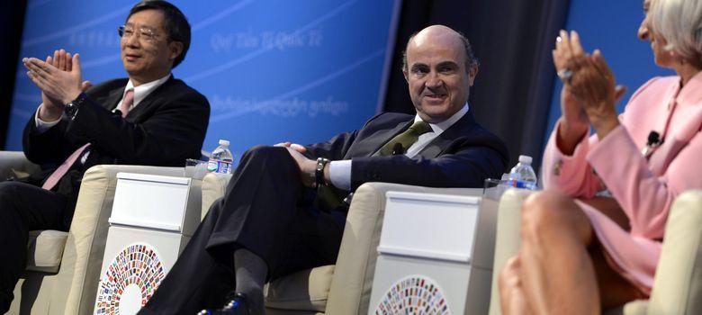 Foto: El ministro de Economía, Luis de Guindos, durante la reunión del FMI y el Banco Mundial en Washington. (EFE)