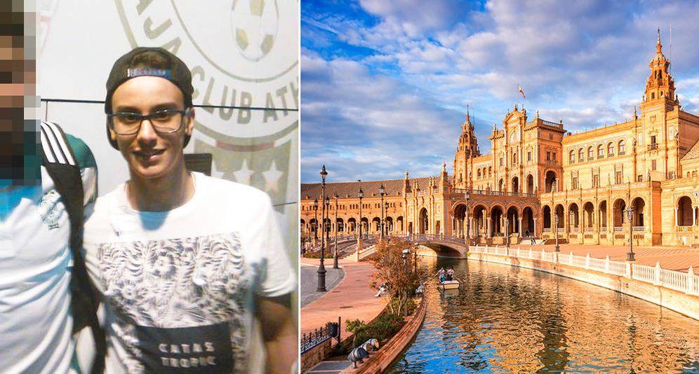 Foto: Salah Eddine Taiebi ('Diario de Sevilla') y la plaza de España de Sevilla.