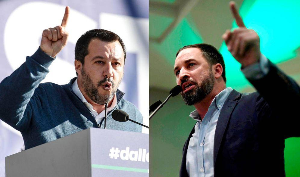 Foto: Matteo Salvini, líder de la Lega, y Santiago Abascal, presidente de Vox. (EFE/Montaje: E. Villarino)