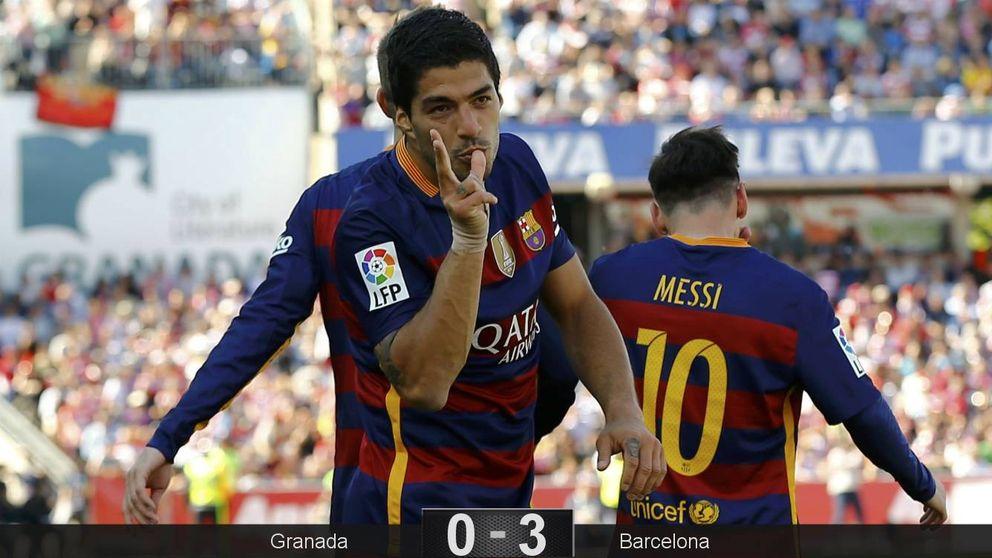 El Barcelona se sube a hombros de Luis Suárez para celebrar la Liga