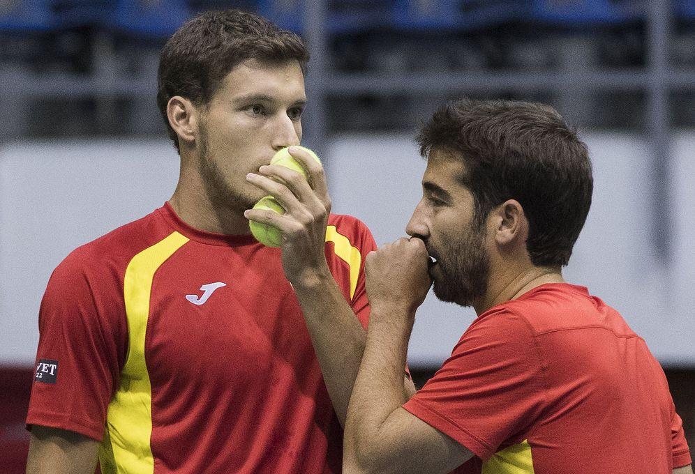 Foto: Pablo Carreño y Marc Lopez cedieron en el partido de dobles. (Reuters)