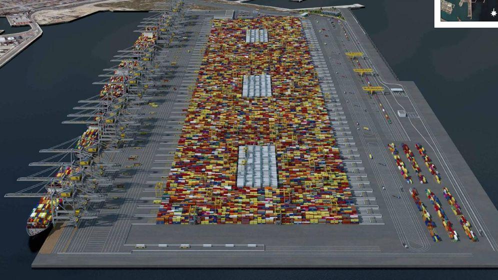 Foto: Simulación de la nueva terminal de contenedores propuesta por MSC para el puerto de Valencia. (TIL)