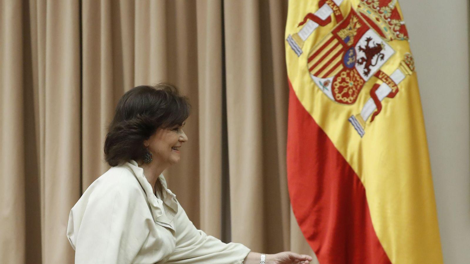 Foto: La vicepresidenta del Gobierno, Carmen Calvo, a su llegada este 10 de julio a la Comisión de Igualdad del Congreso. (EFE)