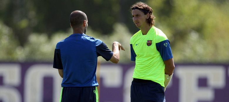 Foto: Guardiola e Ibrahimovic, en un entrenamiento con el Barcelona.