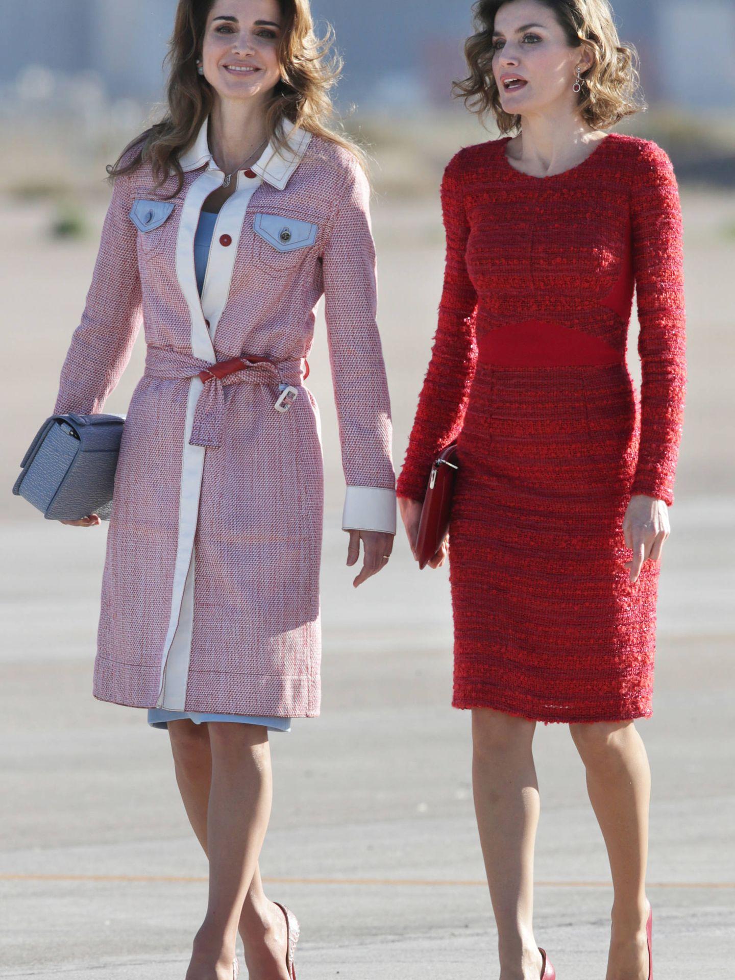 Rania y Letizia, durante la visita de los reyes jordanos a España. (Gtres)
