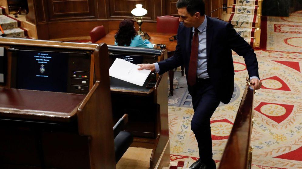 Foto: El presidente del Gobierno, Pedro Sánchez, tras su intervención en el pleno del Congreso este miércoles. (EFE)