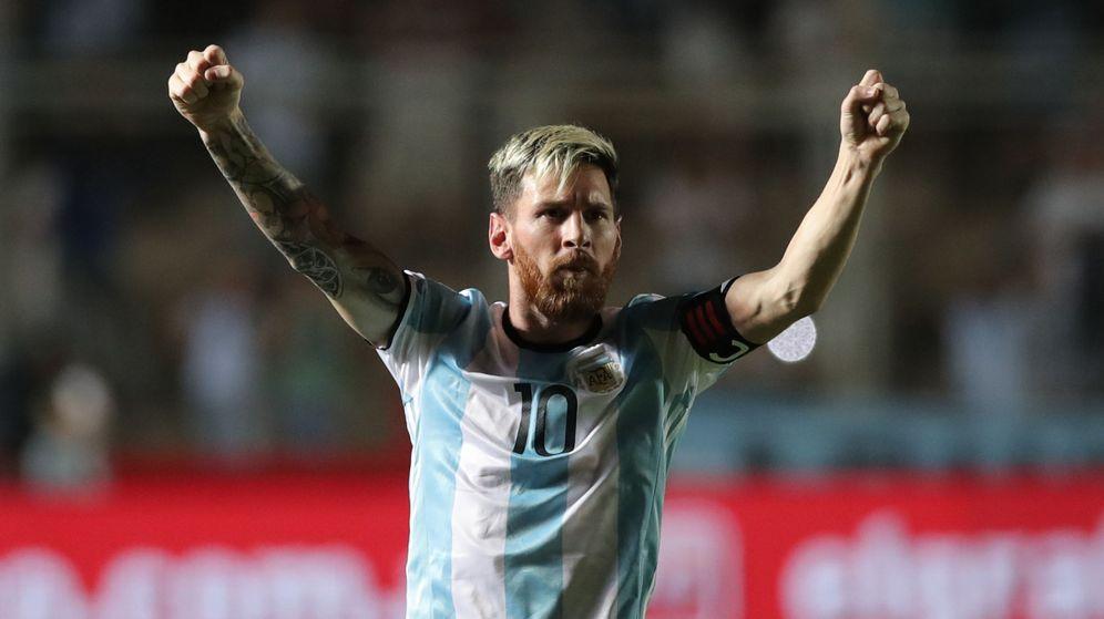 Foto: Messi celebra su gol a Colombia con Argentina. (EFE)