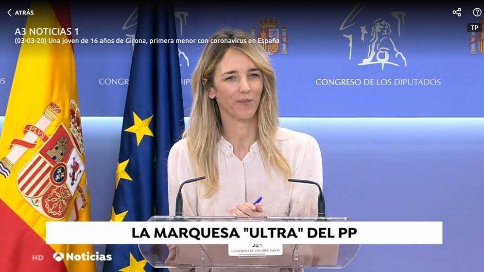 Foto: Captura de la emisión de la rueda de prensa de Cayetana Álvarez de Toledo.