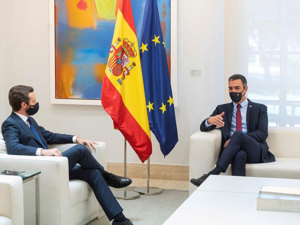 Foto: El presidente del Gobierno, Pedro Sánchez (d), durante un encuentro con el líder del PP, Pablo Casado (i), en la Moncloa. (EFE)